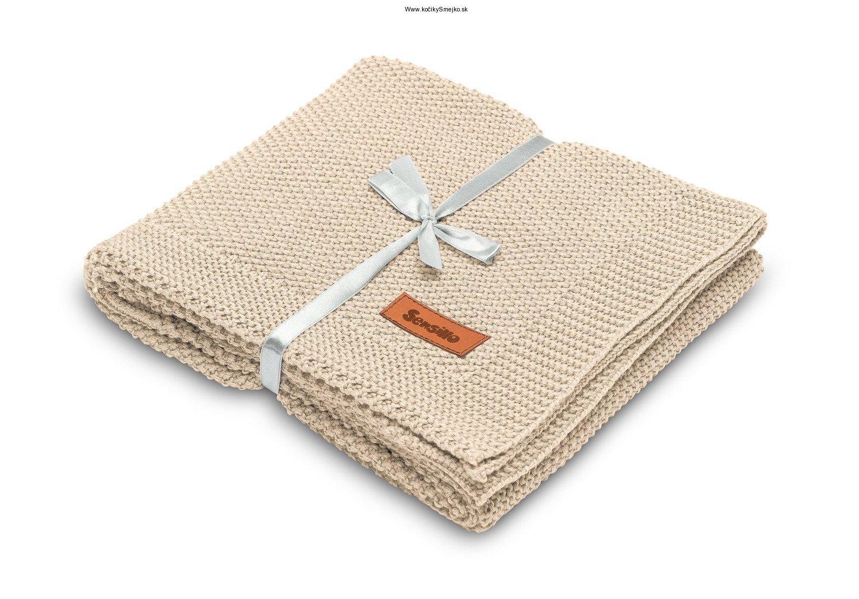 Bavlnená pletená deka béžová 100x80 cm