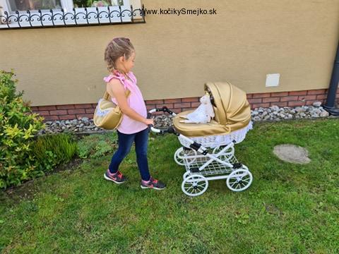 Retro kočík pre bábiku Nikolaj -zlatá farba